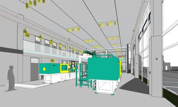 Einsicht in den Showroom aus dem 3D-Modell